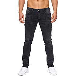 Elara Jeans de Hombre | Pantalones Slim fit Denim | Estirar Estilo | Chunkyrayan 16533-Schwarz-29W / 30L