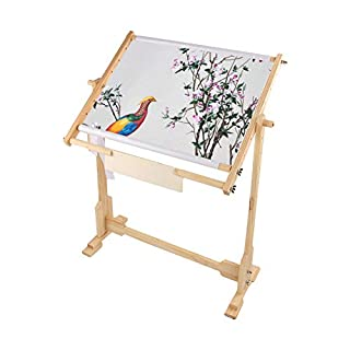 Cross Stitch Frame Stand, Adjustable Cross Stitch Floor Stand Wooden Embroidery Tapestry Hoops Stand (14 CT)