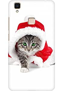 AMEZ designer printed 3d premium high quality back case cover for Vivo V3 Max (Christmas Cat 3)