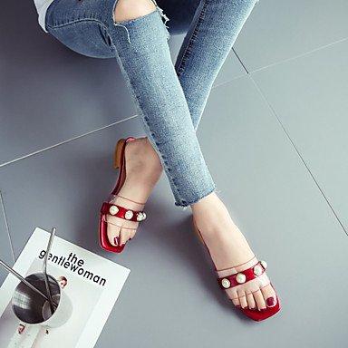 Scarpe Donna FYZSDonne Sandali estate PU comfort all'aperto Walking tacco imitazione Pearl Rosso Nero Bianco US8 / EU39 / UK6 / CN39
