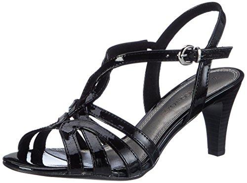 Marco Tozzi 28321, Sandales Bout Ouvert Femme Noir (Black Patent 018)