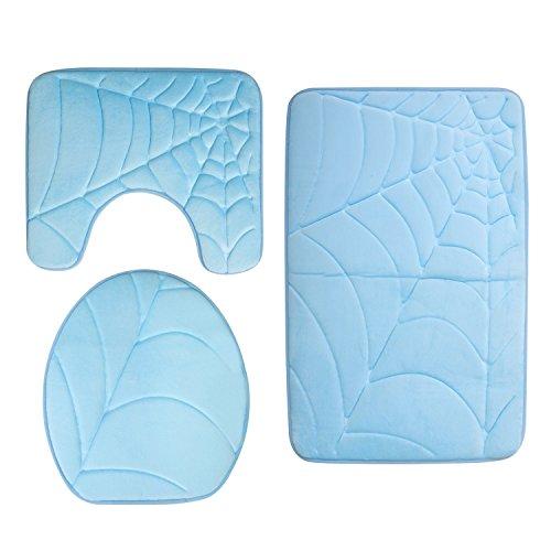 Diossad 3 Teilig Badematte Set Blau Mikrofaser Flanell Badezimmerteppich Rutschfest Badvorleger WC Vorleger Toilettensitzabdeckung