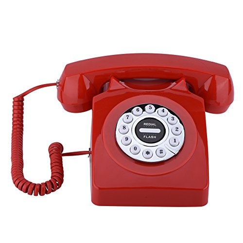 fon,Western Style Vintage Antique Telefonnummern Speicher Wählscheibe Klassisches Telefon,für Haus,Hotel,Büro usw.(Rot) ()
