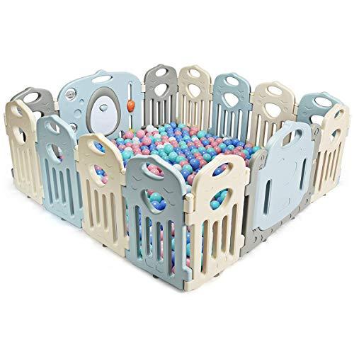 COSTWAY Parque Infantil Bebé de Plástico Plegable Barrera de Seguridad con Puerta y Panel de Juguetes
