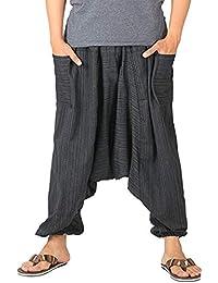 d202ad4bcb68a Whitewhale Mens Stripe Cotton Summer Baggy Boho Aladdin Hippie Yoga Harem  Pants