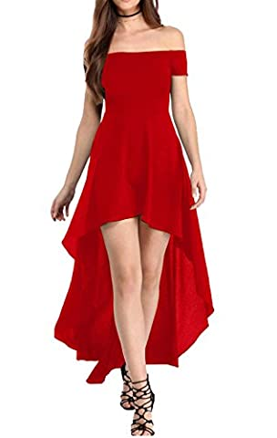 YaoDgFa Sexy Damen Kleider Abendkleid Cocktailkleid Partykleid Kleid Ballkleid Knielang Festlich Kurzarm Off Schulter Lang Maxi Asymmetrisch Rot L