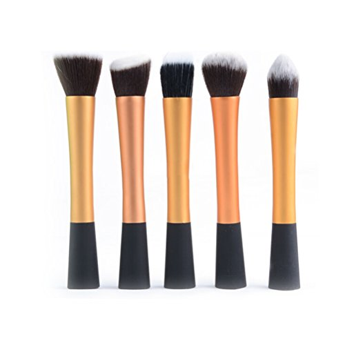 PIXNOR Brosse à Maquillage Cosmétique Premium Ensemble Kit 5pcs (Or)