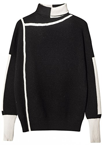 Vogueearth Damen's Lang Hülse TurtleHals Knit Thick Basic Sweater Sweatshirt Pullover Schwarz (Sweater Sleeveless Knit Black V-neck)