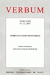 Verbum, Tome 29, n° 1-2, 200 : Verbes et classes sémantiques