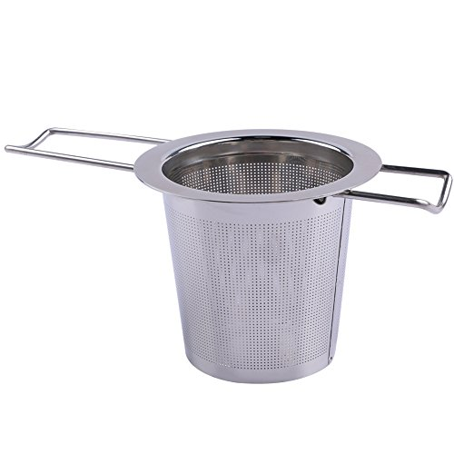 NouveLife Filtre à Thé pour Tasse Passoire à Thé Inox Infuseur à Thé Fin 6,5x7,4 cm avec 2 Poignées Pliables Micro Trous pour Tasse Mug Bol Théière