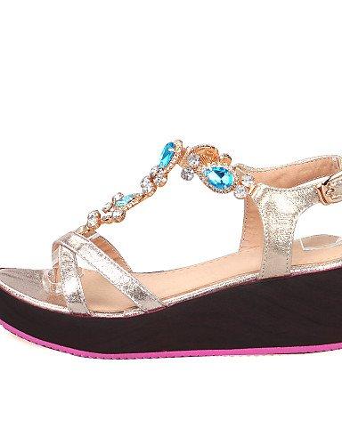 UWSZZ IL Sandali eleganti comfort Scarpe Donna-Sandali-Formale-Zeppe / Aperta-Zeppa-Finta pelle-Blu / Argento / Dorato golden