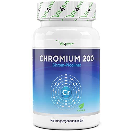 Vit4ever Chromium Picolinate - 365 Tabletten - 200 mcg - Jahrespackung - Laborgeprüft -...