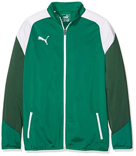 Puma Kinder Esito 4 Poly Tricot Jacket Jacke, Power White-Dark Green, 128