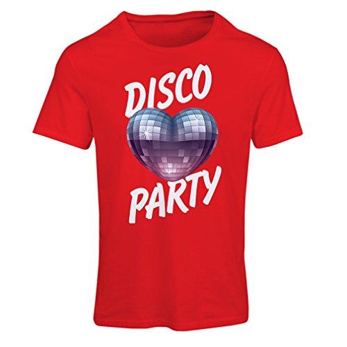 Frauen T-Shirt Disco-Party, für Musikliebhaber (XX-Large Rot Mehrfarben)