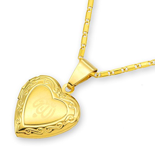 Dunbasi Islam Muslim Allah Kette Herz Anhänger Foto Medaillon Zum öffnen für Bilder Islamische Muslimische Koran Halskette für Damen/Mädchen (Gold)