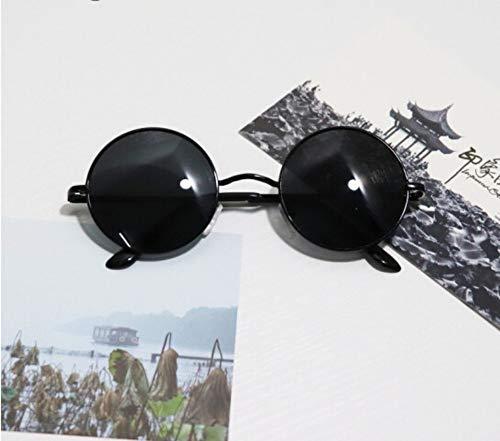 XIAOGUAI66 Kindersonnenbrille runde Brille kleine runde Sonnenbrille Baby süsser Junge süsse kleine Brille Sonnenbrille Flut weiblich Black Box schwarzer Film (7-15 Jahre alt)