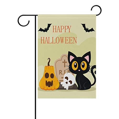 LINDATOP Halloween Katze Hintergrund Garten Flagge 30,5 x 45,7 cm doppelseitig Yard Dekoration Polyester Outddor Flagge Home Party, Polyester, Multi, 28x40(in)