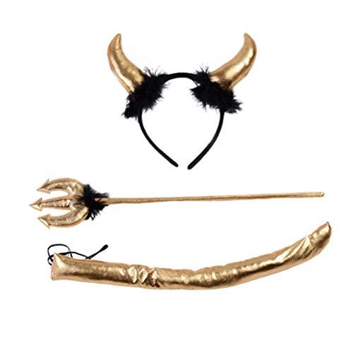 Happyyami 3pcs Teufel Kostüm Set Teufel Stirnband mit Teufel Horn Mistgabel Schwanz Kuh Kostüm Zubehör für Halloween Kostüm Dekoration (Gold) (Kuh Schwanz Kostüm)