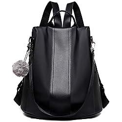 Anti-robo Mujer Mochila de Nylon mochila de Bolsa de mano Mochilas Casual Bolsa de viaje,Negro