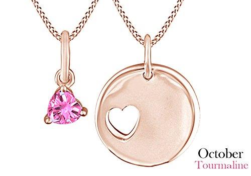 Mom-ring-schmuck (925Sterling Silber Simuliert Turmalin Herz mit Disc Mom & Kind oder Paar Anhänger Halskette für Frauen Mädchen (18Rose Vergoldet) 0,21cttw))
