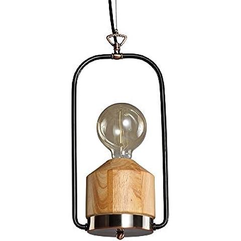 Candil colgante de madera y metal con un adorno al latón envejecido, candil colgante portátil vintage, candil para colgar en el estilo industrial, diámetro de 17 cm, cable de color negro, zócalo