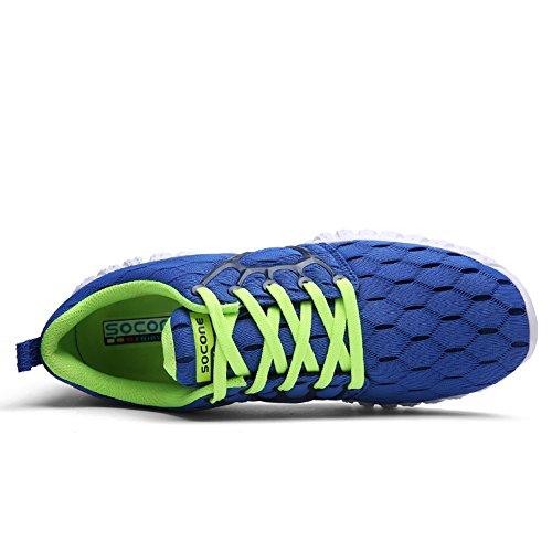 GOMNEAR Scarpe Uomo MultiSport addestratori di ginnastica Walking Jogging sneaker moda esecuzione Blu