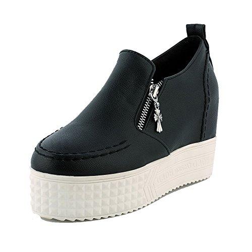 VogueZone009 Femme à Talon Haut Zip Dépolissement Rond Chaussures Légeres Noir