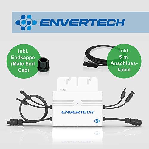 Neue Generation: Envertech SEEYES EVT560 Microinverter (Mikrowechselrichter) inkl. 5 m Anschlusskabel und Endkappe für Mini-, Balkon-, Solaranlagen/PV-Anlagen (Ausführung Betteri-Anschluss) -