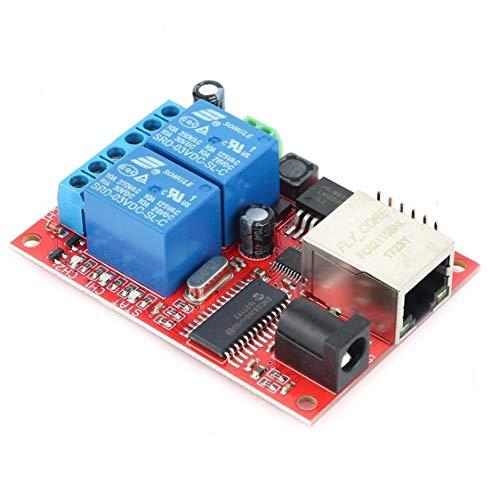 vige LAN Ethernet 2-Wege-Relais Board Verzögerungsschalter TCP/UDP-Controller-Modul Web Server Electronic Kit Platine - Multicolor - Grill-modul