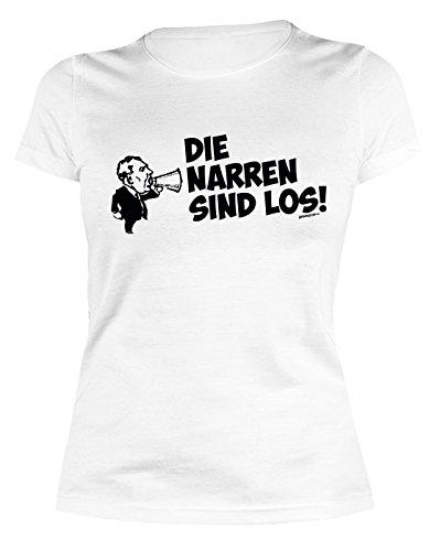 Sexy Girlie Shirt mit Faschingsmotiv: Die Narren sind los! - Das etwas andere Kostüm - Karneval - Figurbetontes Damen Shirt - (Narr Kostüme Hund)