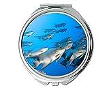 Yanteng Spiegel, Kompaktspiegel, Fischthema des Taschenspiegels, tragbarer Spiegel 1 X 2X Vergrößerung
