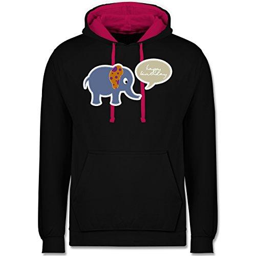 Geburtstag - Elefant Happy Birthday - Kontrast Hoodie Schwarz/Fuchsia