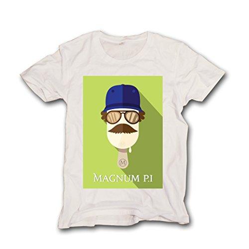 Pushertees - T-shirt maglietta uomo ferrari telefilm anni 80 MAGNUM P.I. TM-UP-15-WH-L