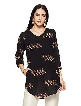 Fabindia Women's Plain Regular Fit Shirt (10518130_Black_XS)