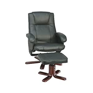 Fauteuil relaxation cuir bycast noir