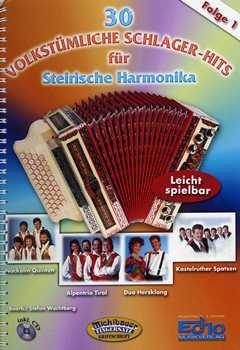 30 VOLKSTUEMLICHE 1 SCHLAGER HITS - arrangiert für Steirische Handharmonika - Diat. Handharmonika - mit CD [Noten / Sheetmusic]