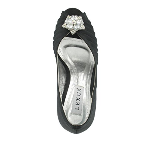 Fashion Review Peep Toe avec grand garniture avec des strass. Noir - noir