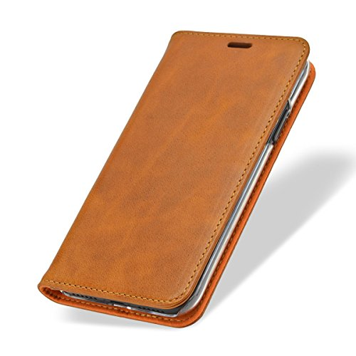 036f091c95 Leather iPhone X Case - NOVADA Genuine Leather Wallet Flip Cover with Stand  - Tan