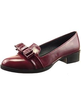 Sopily - Scarpe da Moda ballerina alla caviglia donna nodo pelle di serpente Tacco a blocco 3 CM - Rosso