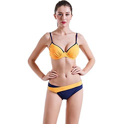 QJKai Frauen Bikini-Satz, Sexy Backless Bügel-BH Padded Swimwear Badeanzug, Strand Badeanzüge für FrauenTop gepolstert und Kurze Unterseite 2 Stück -
