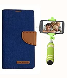 Aart Fancy Wallet Dairy Jeans Flip Case Cover for Asuszen-5 (Blue) + Mini Fashionable Selfie Stick Compatible for all Mobiles Phones By Aart Store