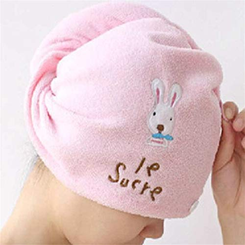 ZQBQY Süß Trockentuch Kopf Wickeln Hut weiches Haar Handtuch Mikrofaser solide schnell trockenes Haar Hut Frauen Mädchen Damen Kappe Bad-Accessoires rosa