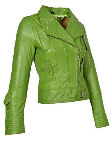 (A1 FASHION GOODS Damen Weich Echtes Leder Biker-Jacke Reißverschluss Ausgestattet Designer Mantel Lindgrün - Sheila (L - EU 40))