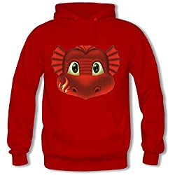 Adult Pullover Hooded Sweatshirt - Women's Creative Cartoon Red Fire Dragon Pattern Casual Long Sleeve Tops Red 3XL