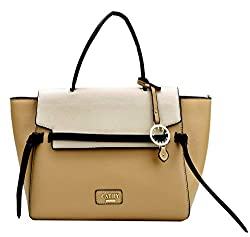 Cathy London Womens Handbag, Material- Syntethic Leather, Colour- Brown/Beige