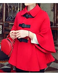 73a8d9e72dc ELECTROPRIME Trendy Style Turn-Down Collar Solid Color Cape Flare Sleeve Women s  Coat