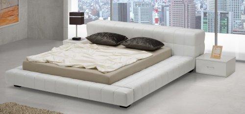 Design Luxus Lounge Polsterbett Doppelbett Futon-Bett Leder Weiß SL26 NEU! (Futon Leder)