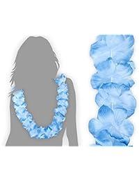 12 Stk. Hawaiiketten Ketten Blumenketten blau zu weiß HK-06