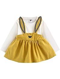Mono Bebé, Amlaiworld Niñas bebé lindo otoño conejo vendaje traje mini vestido Conjunto de ropa 0-3 Años