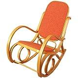 Rocking-chair, fauteuil ? bascule M41, imitation ch?ne, tissu orange